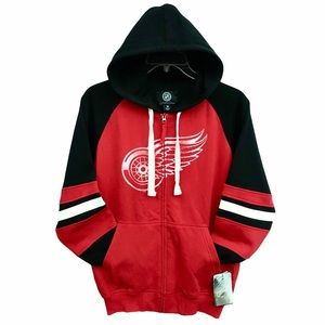 Men's Detroit Redwings NHL License Full Zip Hoodie
